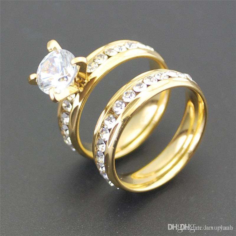 957b5c707052 Compre Lujo 18 K Oro Amarillo Sólido Plateado Cristal Diamante Anillo De  Piedras Preciosas Anillo De Compromiso De Oro Para Hombre Amantes De La  Boda ...