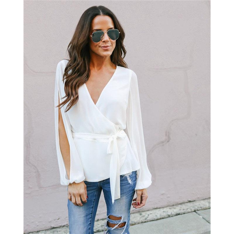 27856366840d 2019 Fashion Ladies V Neck Shirt Women Casual Chiffon Tops And Blouses  Summer Loose Slim Fit Split Long Sleeve Women Blouse Top From Alfreld