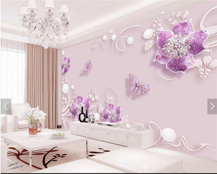 3d tapete lila blume schmetterling wandbild - Tapete Lila