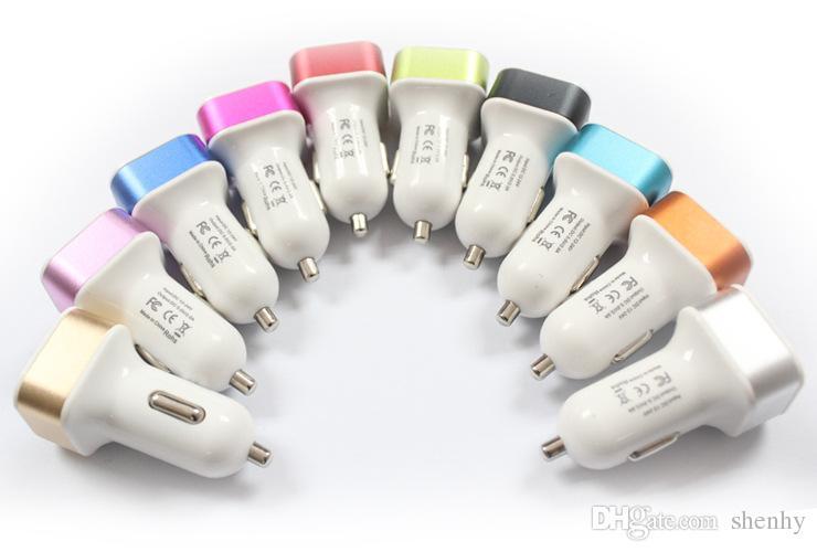 شواحن الهاتف الخليوي عالية الجودة سبائك الألومنيوم المزدوجة USB شاحن سيارة شاحن سيارة لفون 6 فون 6S زائد فون 7 كامل مخزنة