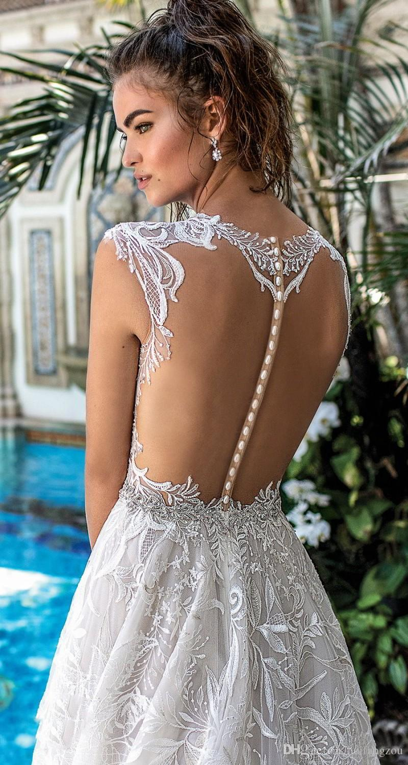 Berta Newest Wedding Dress Sexy Illusion Lace Beads Design Covered Button Backless Sweep Train Bridal Gowns Custom Made robes de mariée