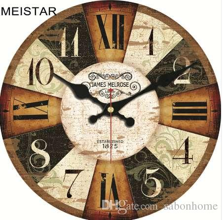 MEISTAR Vintage Wooden Clocks Brief Design Silent Home Cafe Office Wall  Decor Clocks For Kitchen Wall