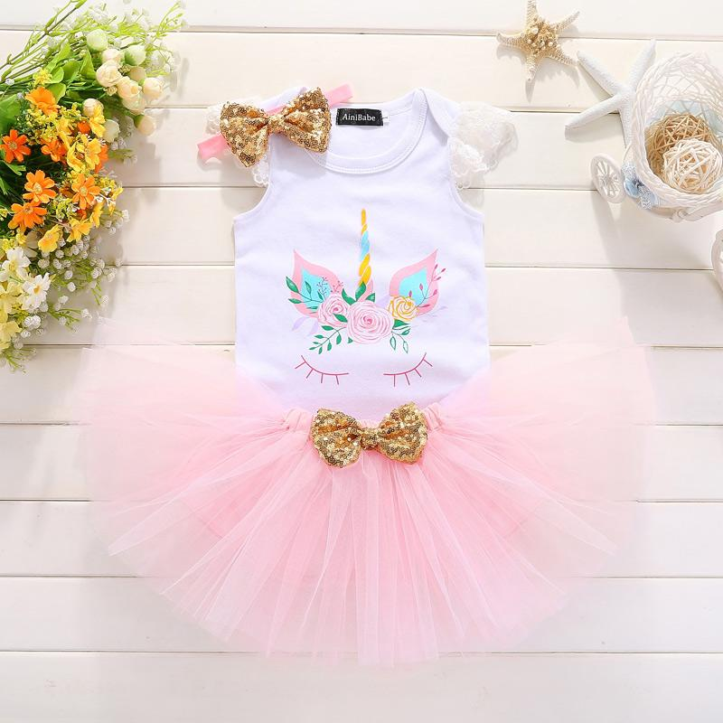 2019 Baby Girl Birthday Tutu Dress Kids Clothes Unicorn 12 24 Months 1st 2nd Christening Dresses For Girls Party Wear From Heathera
