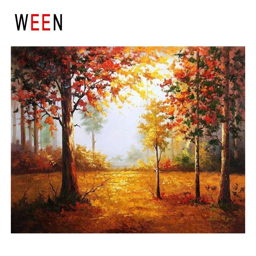 Ween Sunrise Forest Diy Malen Nach Zahlen Abstrakte Herbst Baum ölgemälde Auf Leinwand Cuadros Decoracion Acryl Wandkunst 2018