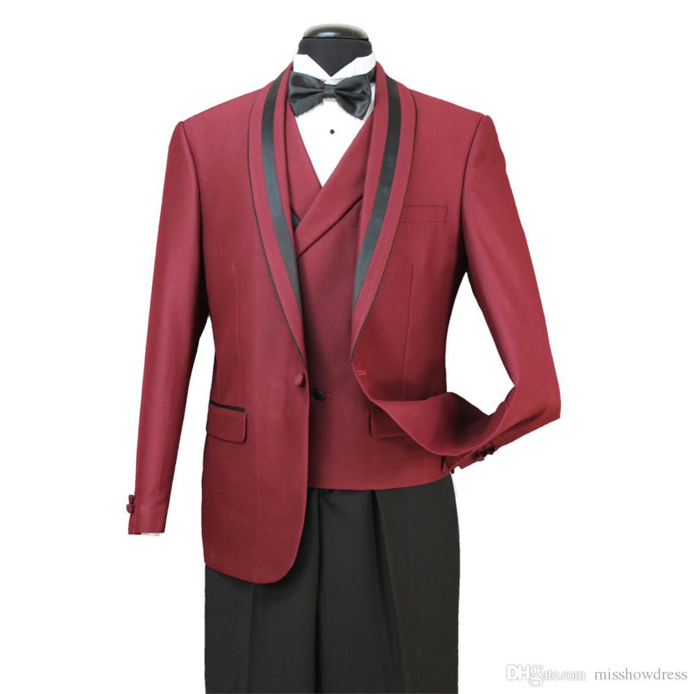 8 Fotos 30 2018 Im Lager der Männer formale Hochzeit Anzüge Bräutigam Groomsmen Tuexdos Business-Wear-Schal Revers 3 Stück Jacket + Vest + Pants ST007