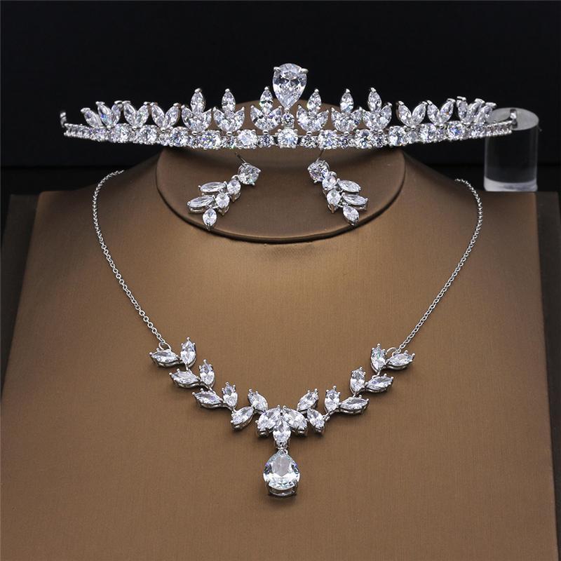 Amupp Stunning Cubic Zirconia Wedding Tiara Clear Zircon Cz Brides