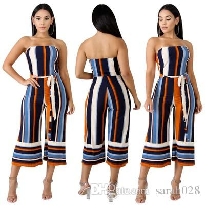 3f69689bc9fc 2019 New Summer Women Overalls Jumpsuits Strapless Sashes Bohemian Stripe  Outfit Playsuits Casual Sexy Fashion Bandage Rompers From Sarah028