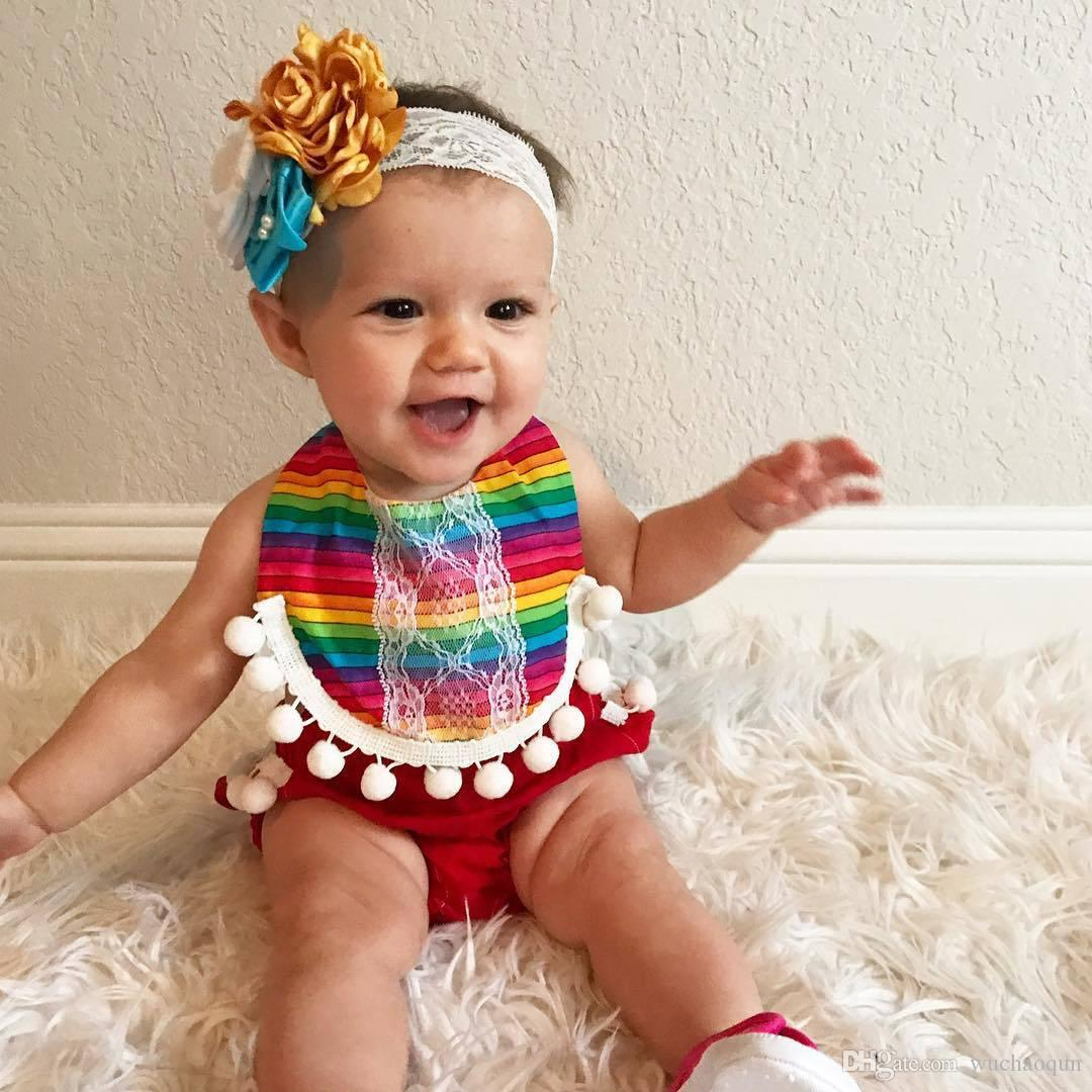 4386399a64ea 2018 New Girls Romper Colorful Stripes with Small Balls Edge T-shirt ...