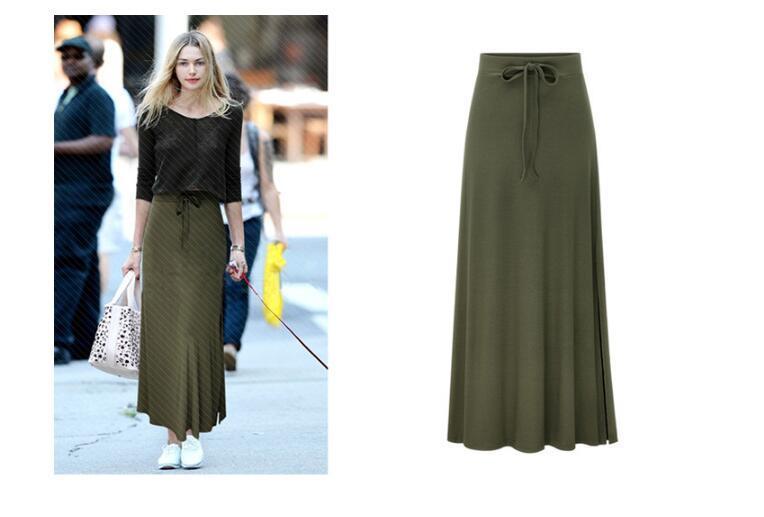 119bae984e2 Womens Irregular High Elastic Waist Elegant Classic A-line Cotton ...