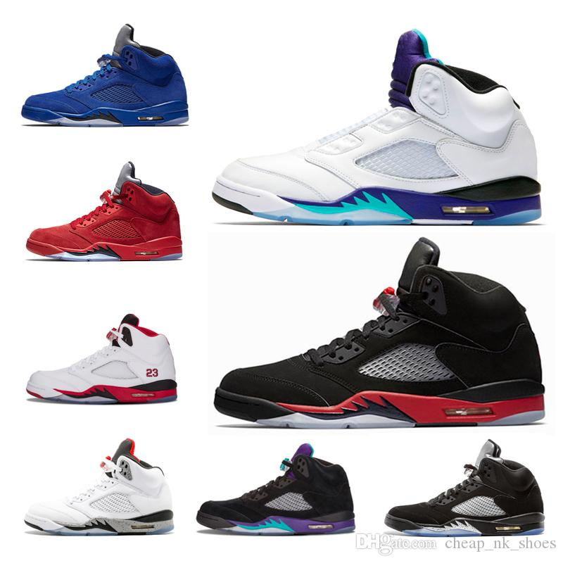 purchase cheap 918ef 74709 Compre Air Jordan Retro 5 Cheap 5 5s Baloncesto Zapatos Hombres Zapatillas  OG Negro Metálico Fuego Rojo Azul Suede Olympic Metálico Gold 5s Blanco  Cemento ...