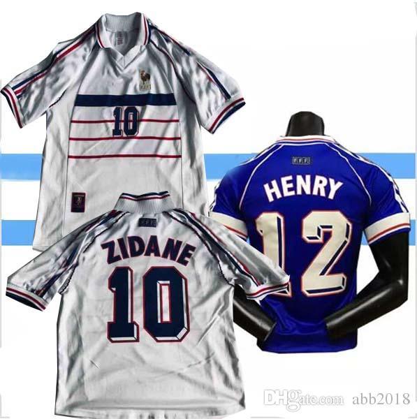 Compre 1998 França Casa Fora Camisa De Futebol Zidane 10 HENRY 12 DESCHAMPS  7 1998 França Fora Camisa De Futebol De Abb2018 f5837167ffc5e
