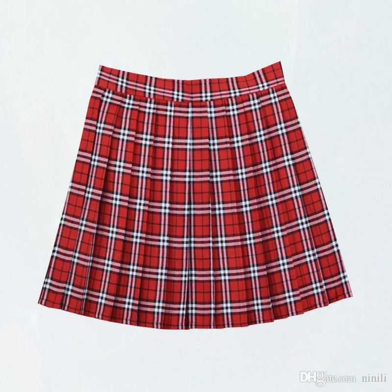 d770bc4c5 2019 Large Size XS 4XL Summer Student Pleated Skirts College Wind High  Waist Student Plaid Tennis Skirt Cute For Girls From Ninili, $9.85 |  DHgate.Com