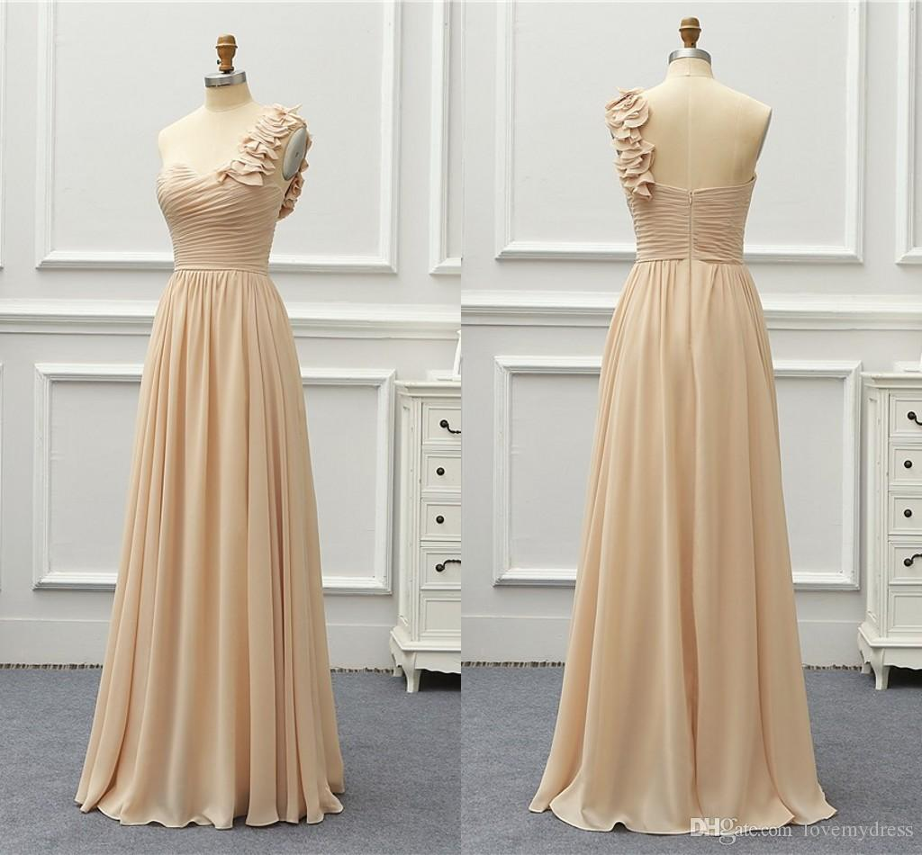 93e433d29e Fashion Champagne Chiffon Cheap Long Bridesmaids Dresses One shoulder  Empire Beach Style Ruched Long Wedding Guest Party Prom Dress New