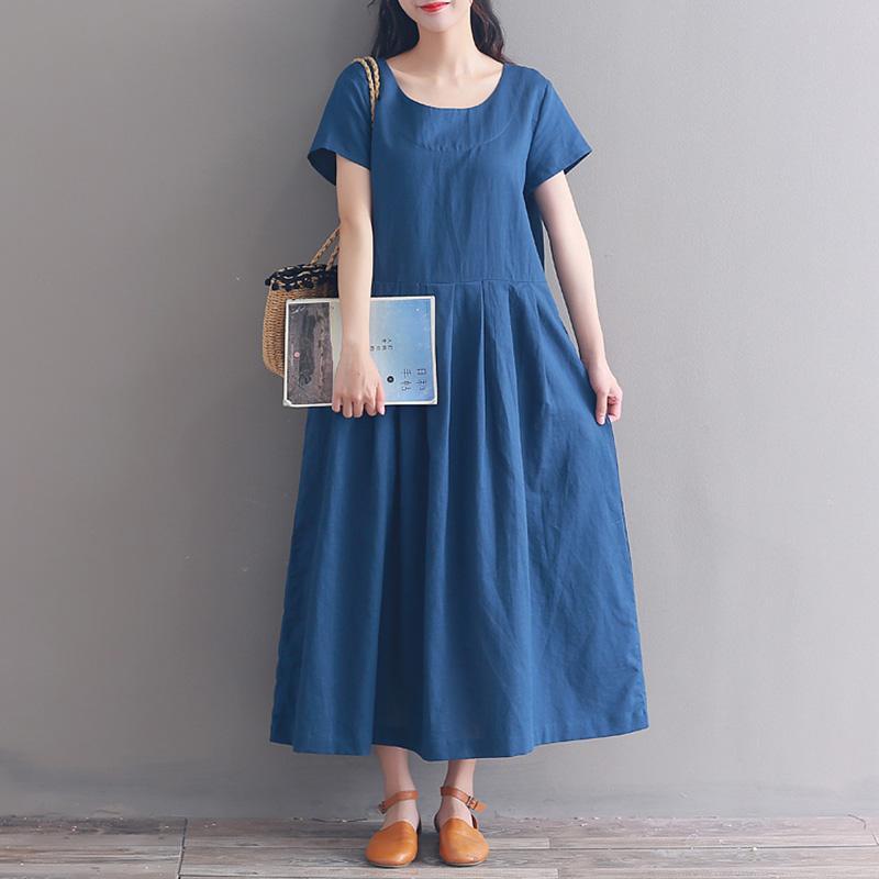 08e4ee1f83b3 Vintage Solid Dark Blue Linen Loose Dress Women Short Sleeve Long Casual  Dress Womens Mid Calf Sundress Women Summer Dress 2018 White And Blue  Dresses For ...