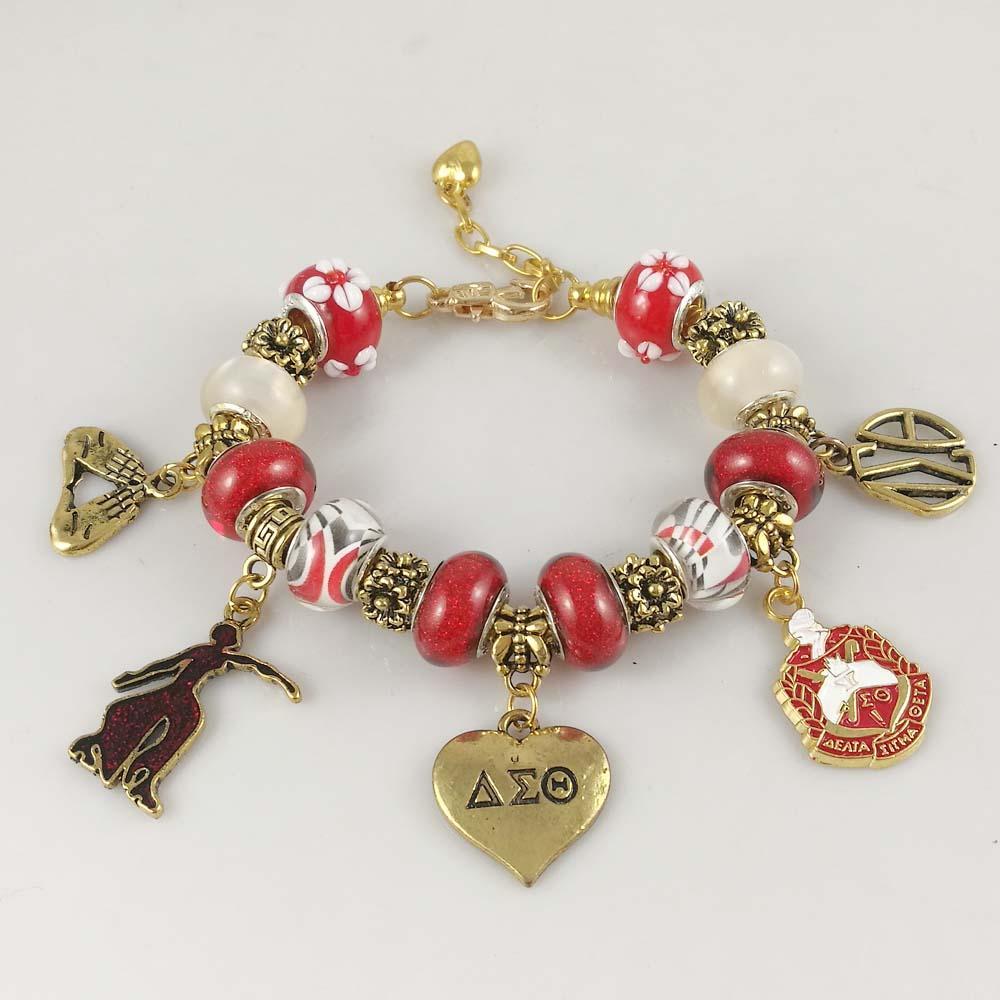 66d1e1ebb5c65a NEW Red Bead Delta Sigma Theta Sorority Founder Lady Heart DST Charm  Bracelet Jewelry Strand Bracelets Cheap Strand Bracelets NEW Red Bead Delta  Sigma Theta ...