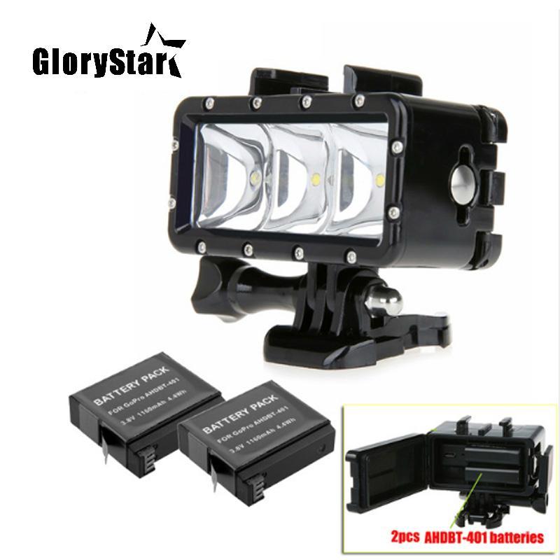 e8d8992593f2d3 Go Pro 35m Diving Led Flash Light Underwater Lamp 2x Hero4 Batteries ...