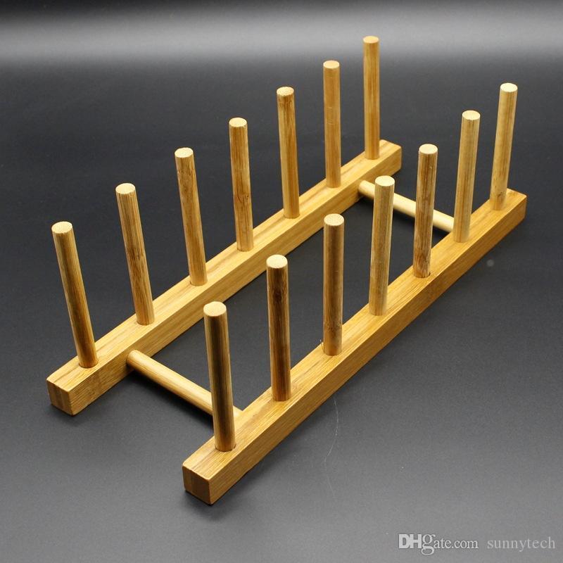 Nuevo Plato de Drenaje de Bambú Pot Tapa Plato Tazón Tazón Display Holder Book Storage Shelf Cocina Organizador LZ0871