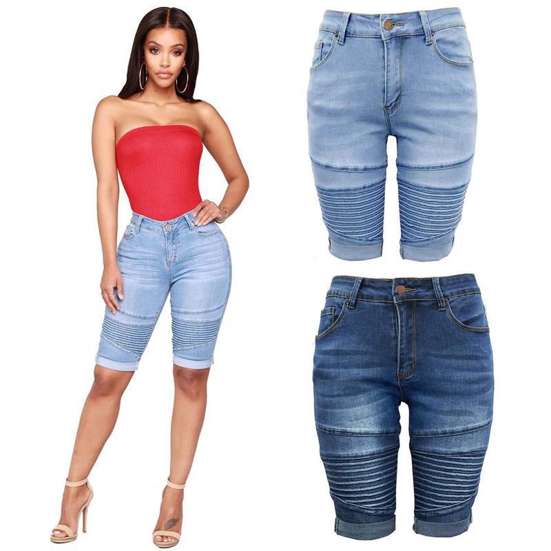 De Las Puños Jeans Cortos Flacas Compre Longitud Mujeres Biker 8adxq