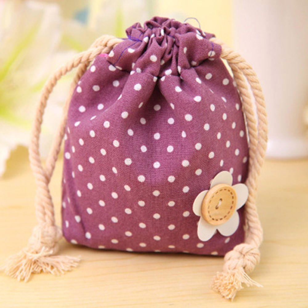 Cute Dot Cotton Drawstring Bags Eco Friendly Wedding Birthday Party ...