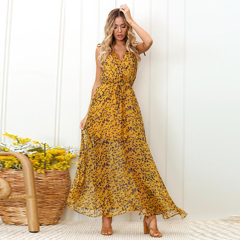 f44d2e17d7c 2019 Summer Boho Dress 2018 Holiday High Waist Sleeveless Loose Dress Women  Deep V Neck Leopard Print Maxi Female From Fabian05