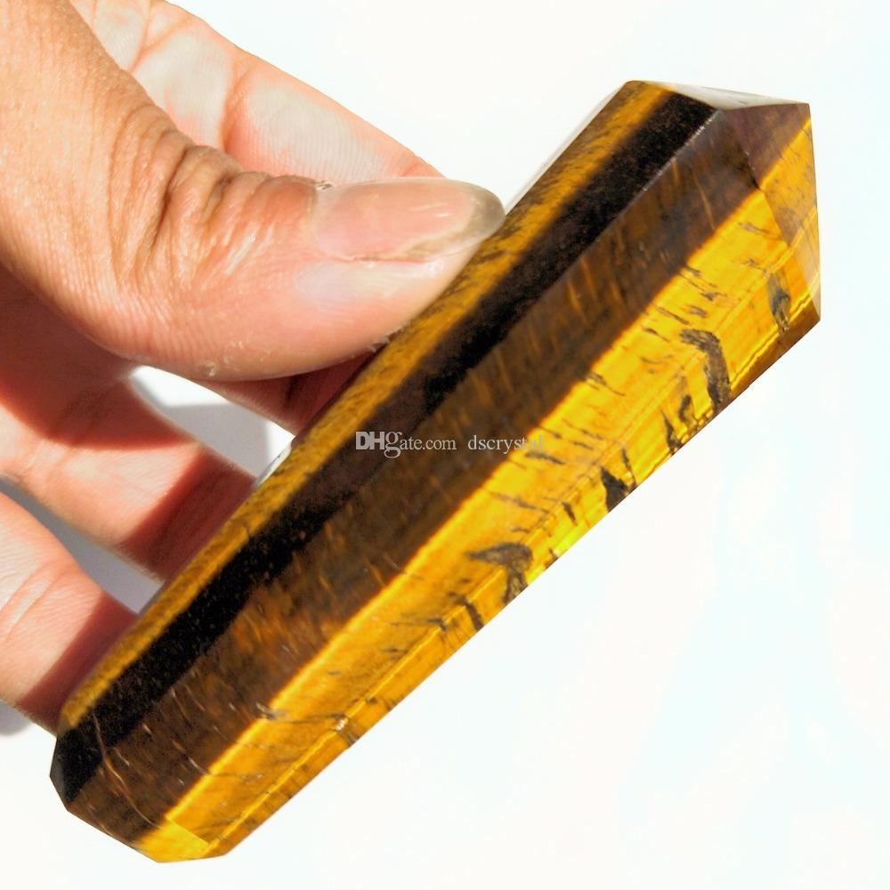 الجملة الأصفر الطبيعي عين النمر الكوارتز الأنابيب التدخين حجر الكريستال المسلة العصا السيجار أنابيب نقطة مع تصفية المعادن