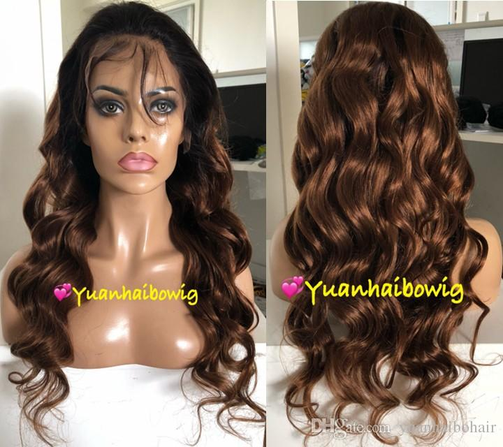Ombre Brown Full Lace Wigs Fashion Celebrity Wigs Vigin Malaysian Human Hair Lace Front Wigs Loose Wave