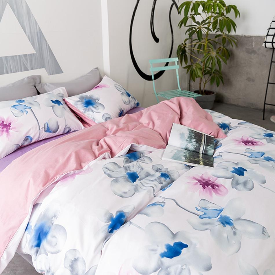 3/Watercolor Flower Duvet Cover Solid Color Bed Sheets Pillow Case Cotton  100% Bedding Sets Queen King Home Soft Bedding Bedding For Boys Train  Bedding From ...
