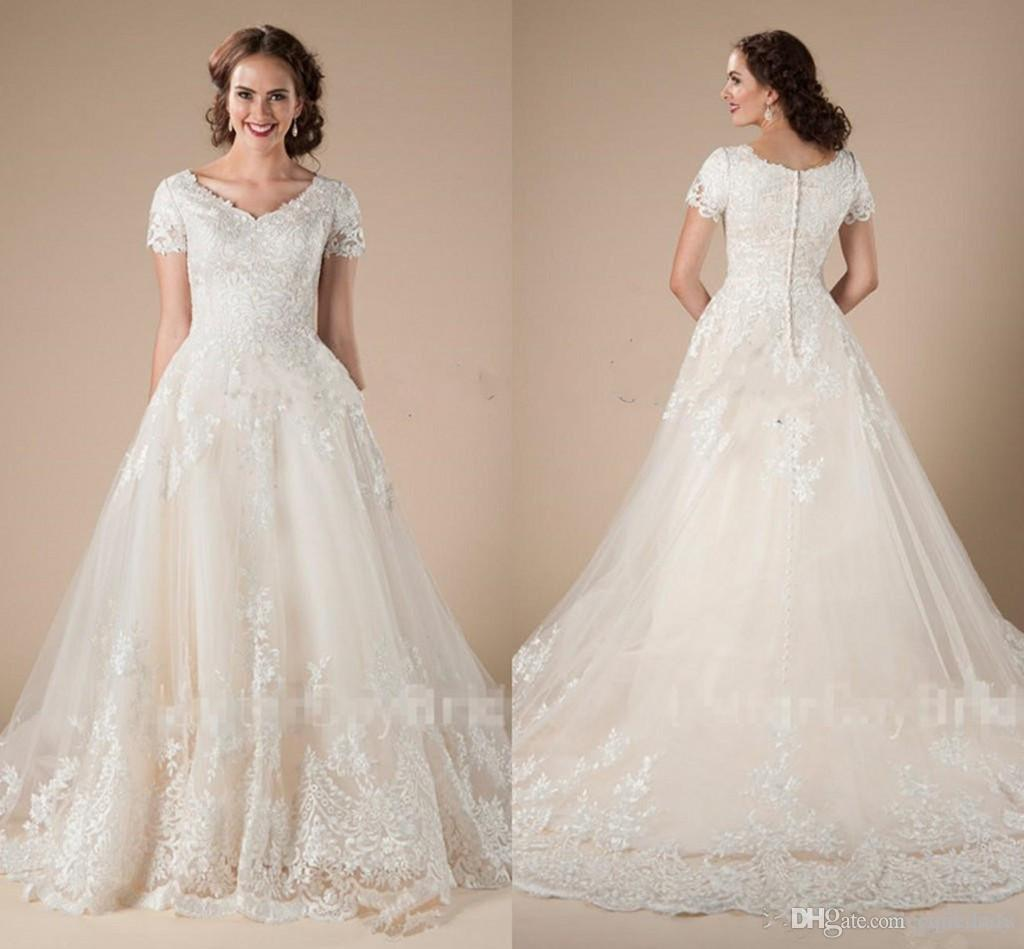 Discount A Line Lace Tulle Vintage Modest Wedding Dresses With Short Sleeves Appliques Formal Country Western Lds Temple Bridal Gowns: Bling Wedding Dresses Lds Modest At Reisefeber.org
