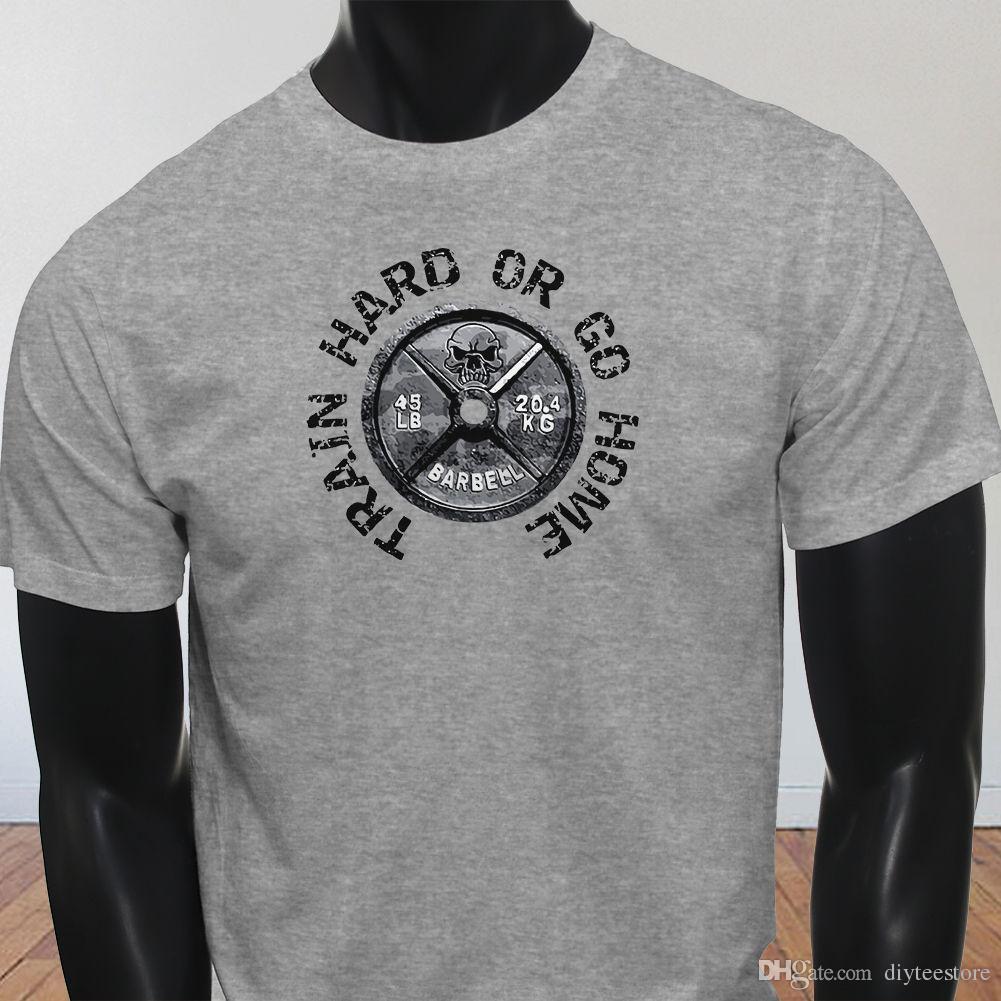 dcbf0b3b739c44 Lb Barbell Workout Gym Fitness Yoga Train Hard Or Go Home Mens Gray T-Shirt  Tees Shirt Men Free Shipping Custom Short Sleeve 3XL Men's Tshir