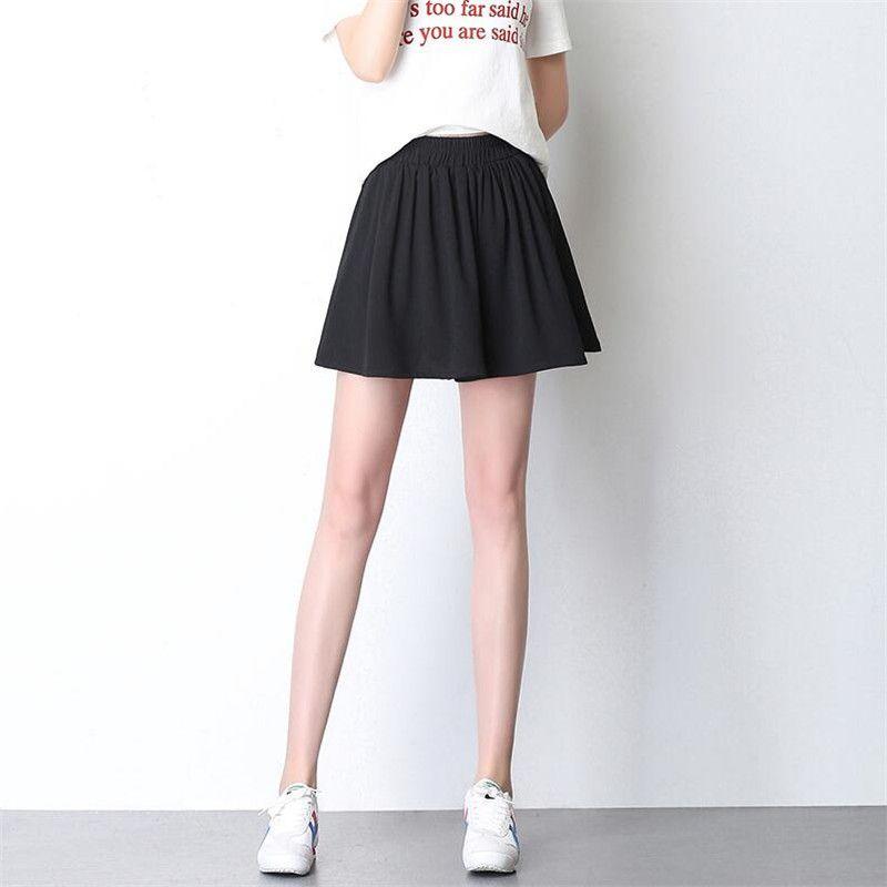 591c5376e6 Compre Verano 2018 Mujeres Gasa Mini Shorts Faldas Cintura Elástica Suelta  Pantalones Cortos Chica Dulce Estilo Coreano Estudiantes Gran Tamaño Negro  A ...