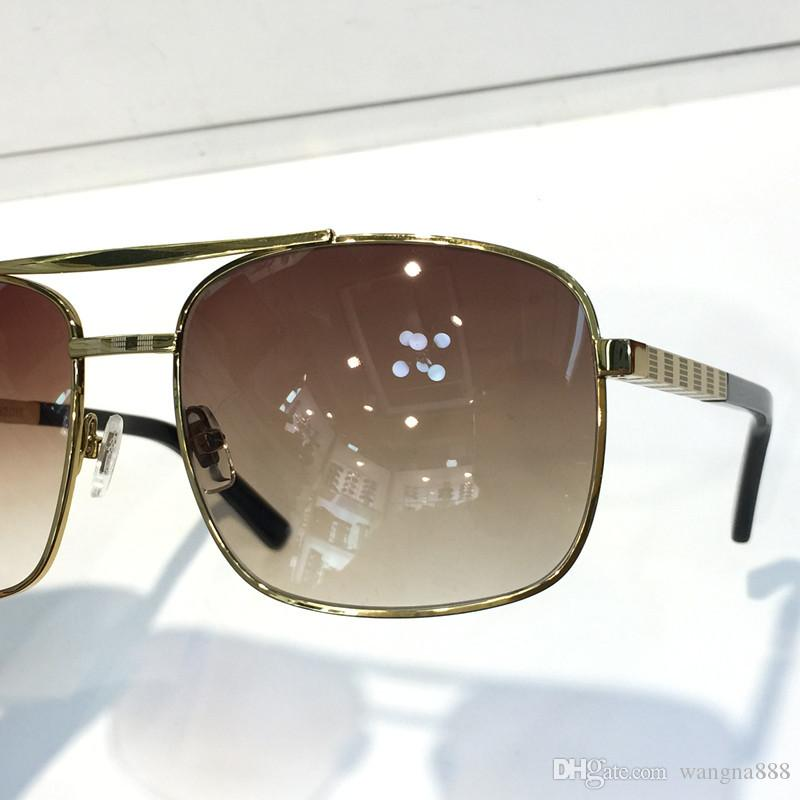 Erkekler Için lüks Tutum Güneş Gözlüğü Moda 0260 tasarım UV Koruma Lens Kare Tam Çerçeve Altın Renk Kaplama Çerçeve Paketi Ile Gel