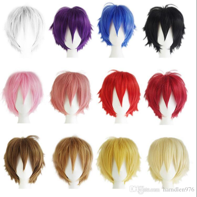 Freies shippingMulti Farbe Männer Junge Frauen Kurze Perücken Gerade Haar Anime Party Kostüm Cosplay mehrere wahl
