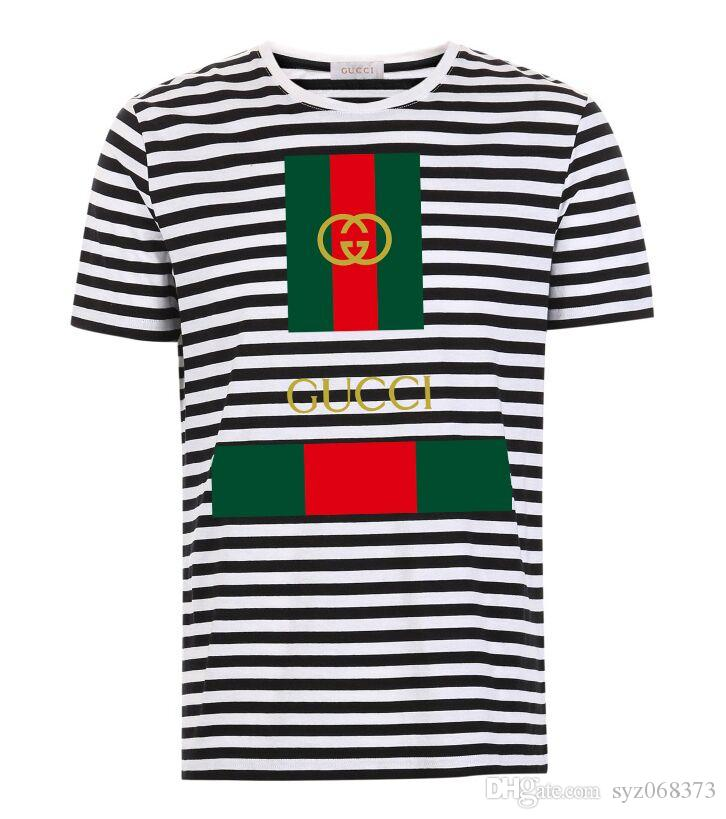 2019 2018 New Fashion Mens Stripe T Shirt Brand Clothing Hip Hop