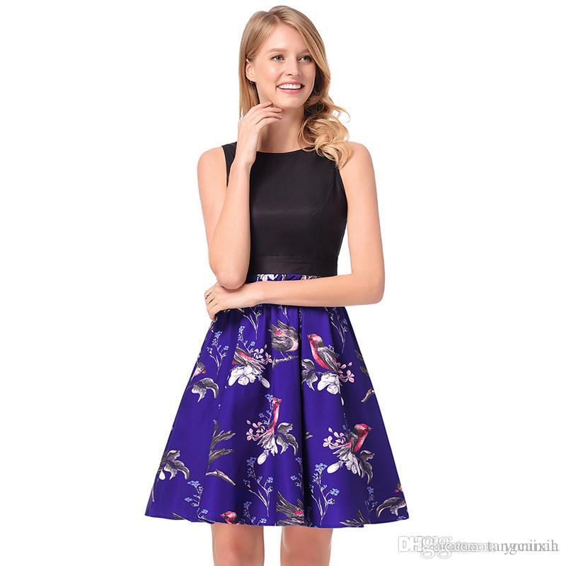 143391e7fb Wholesale Free Shipping Women Backless Lolita Tank Print Vintage Sleeveless  Empire Waist Boho Tunic Dresses Plus Size 2XL