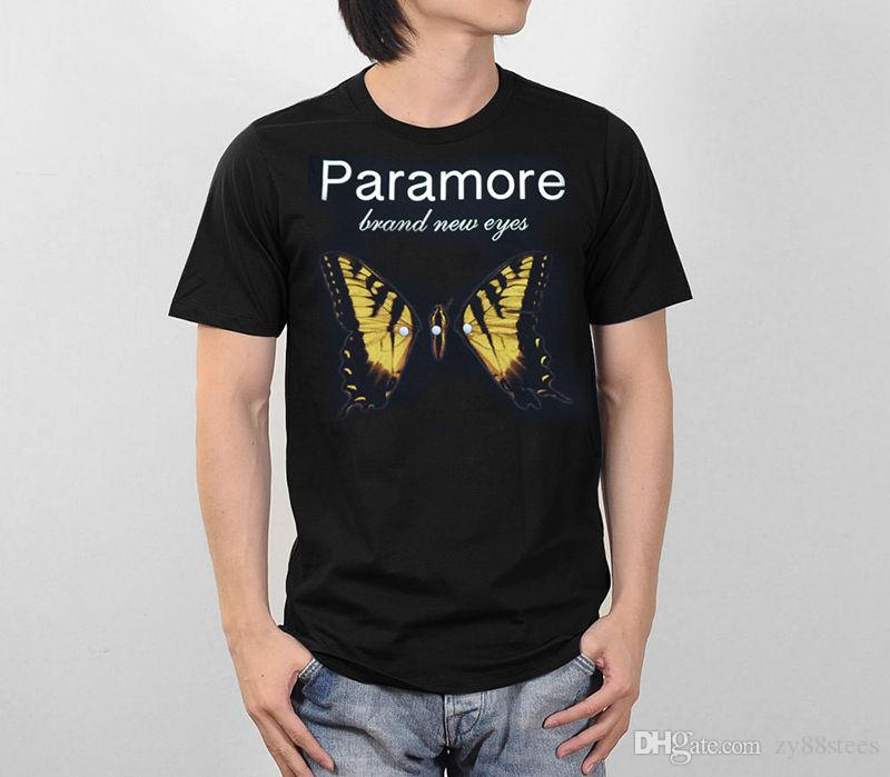e2e9902cca Paramore Butterfly Brand New Eyes Rock Band Retro Vtg Graphic Men T-Shirt  S-Xl Tee Shirt For Men High Quality Custom Short Sleeve Big