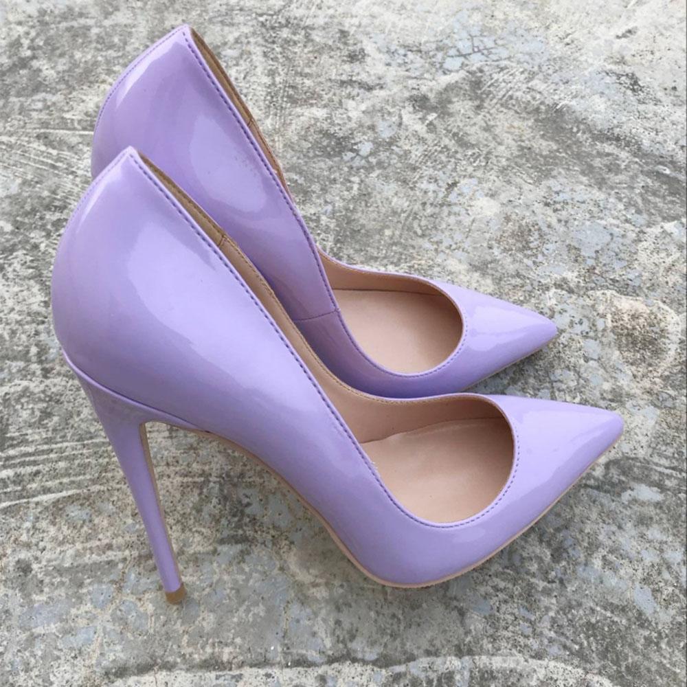 Keshangjia Altos Damas De Mujer Baja Tacones SraBoca Boda Patente 12 Cm Moda Zapatos Sexy Morados 10 R4qL35Aj