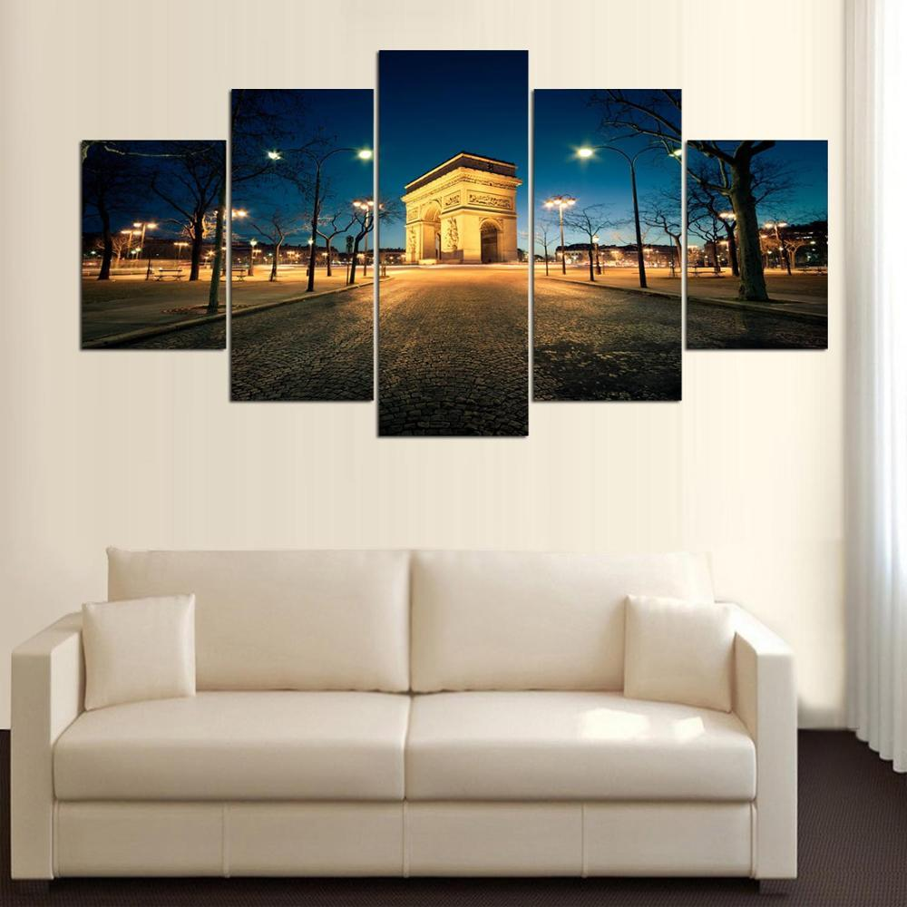 2018 Large Poster HD Printed Painting Building And Lamp Landscape ...