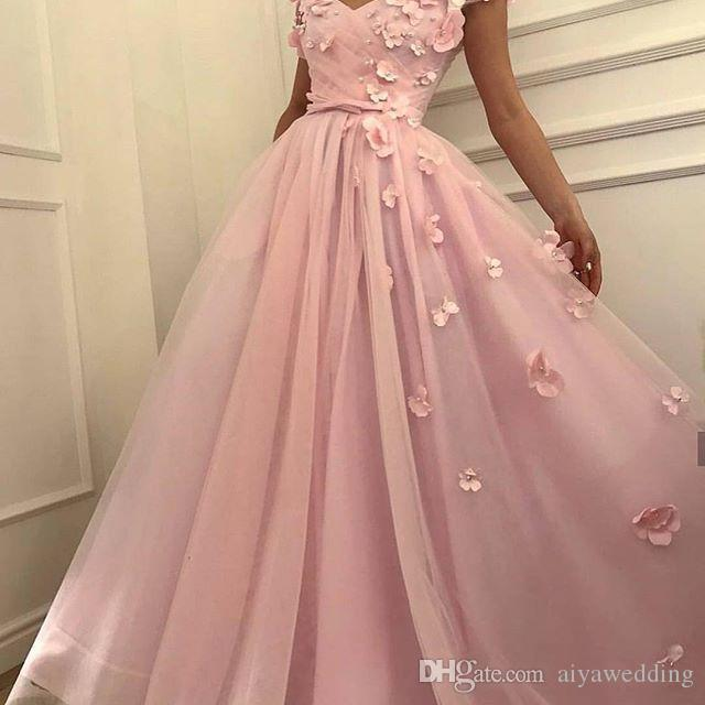 9732fd197c 2019 Gorgeous V Neck Prom Dresses Pink Tulle A Line With 3D Flora Appliques  Floor Length Formal Evening Occasion Dresses Custom Made Prom Dresses For  Kids ...