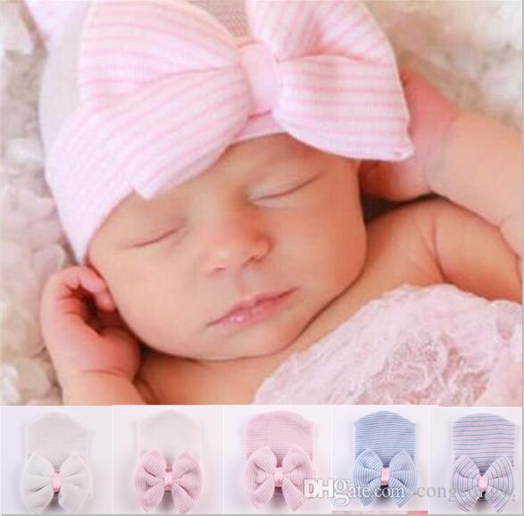 06faa84b23f 2019 Baby Hair Bows Hat Newborn Crochet Beanie Hats Toddler Kid Knit Hair  Accessories Infant Boy Bonnet Baby Cotton Photography Caps MZ03 From  Congcongw