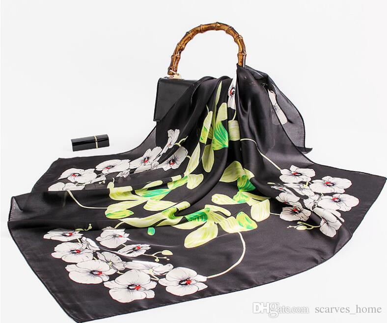 Women Bandanas Multifunction Silk Scarf Satin Small Square Shawls Handle Bag Ribbon Ladies Office Foulard Neckerchief Luxurious orchid