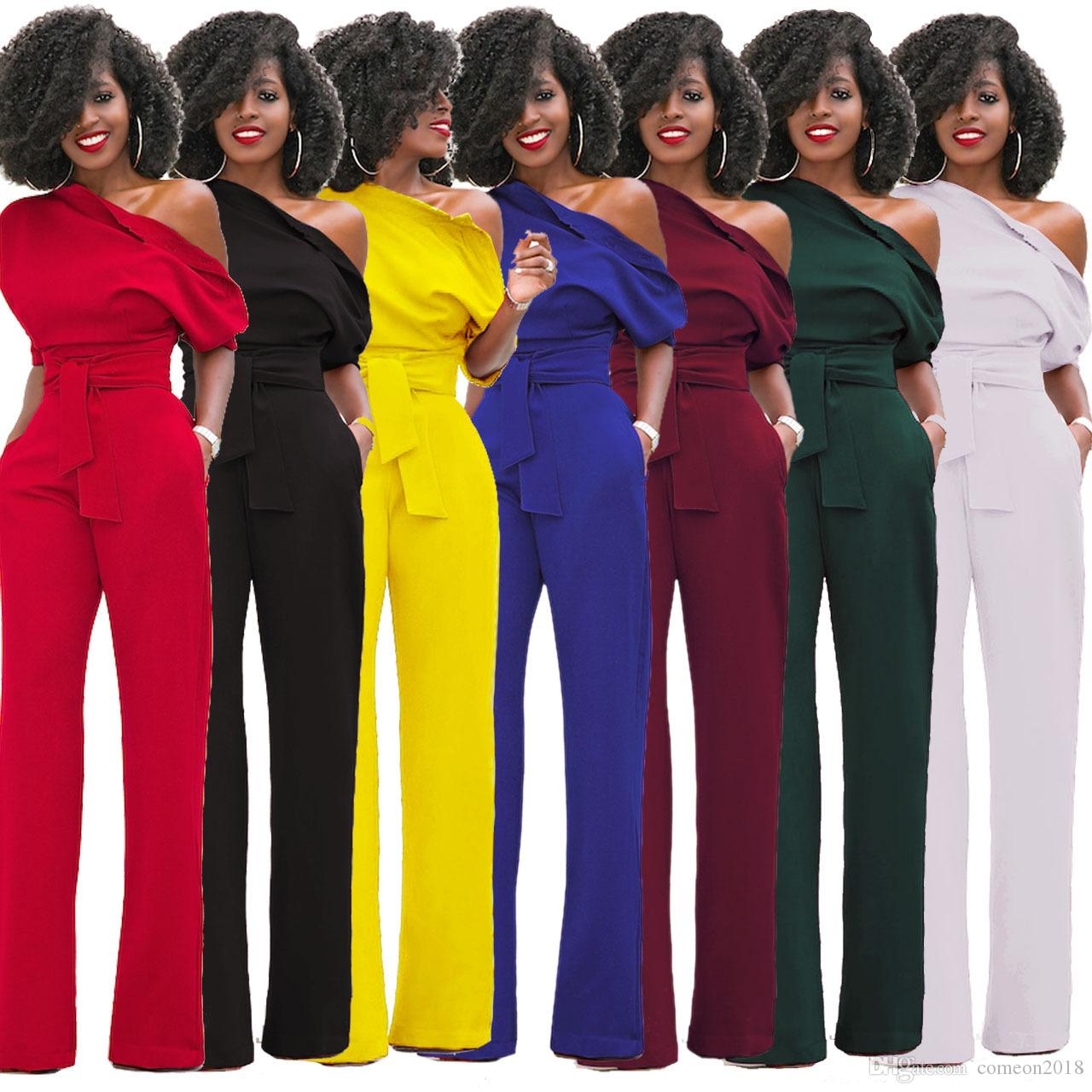 97eb1899320 2019 Womens Clothes Autumn Round Collar Casual Lady Long Sleeve Off  Shoulder Jumpsuit Plus Size Wide Leg Pants Pure Solid Color Ladies Rompers  From ...