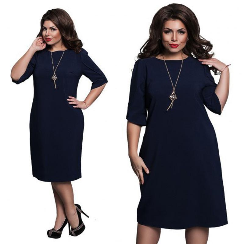 4a24a4328fcc Acquista 5XL 6XL Large Size Primavera Estate 2019 Moda Donna Dress O Collo  Vestito Allentato Breve Party Dress Plus Size Abbigliamento Donna Vestidos  A ...