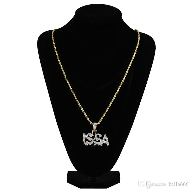 Fashion Hiphop ISSA Letter Symbol Pendant Necklace Gold Silver Color Iced Out Cubic Zirconia Necklaces With Rope Chian Rapper Jewelry Gift