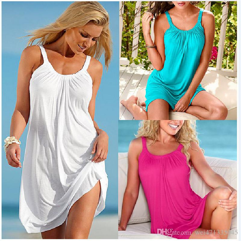 Summer Loose Dress 2018 New Women Casual Beach Dress Sexy Sling Party Dress Mini Womens Clothes Hot Sale Plus Size S-XL Vestido