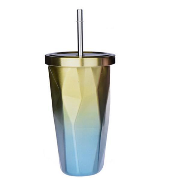 17 oz Degrade elmas Payet Kahve Kupa Çift Duvar Paslanmaz Çelik Vakum Yalıtım 500 ml Su Şişesi şişesi Seyahat termos kupalar