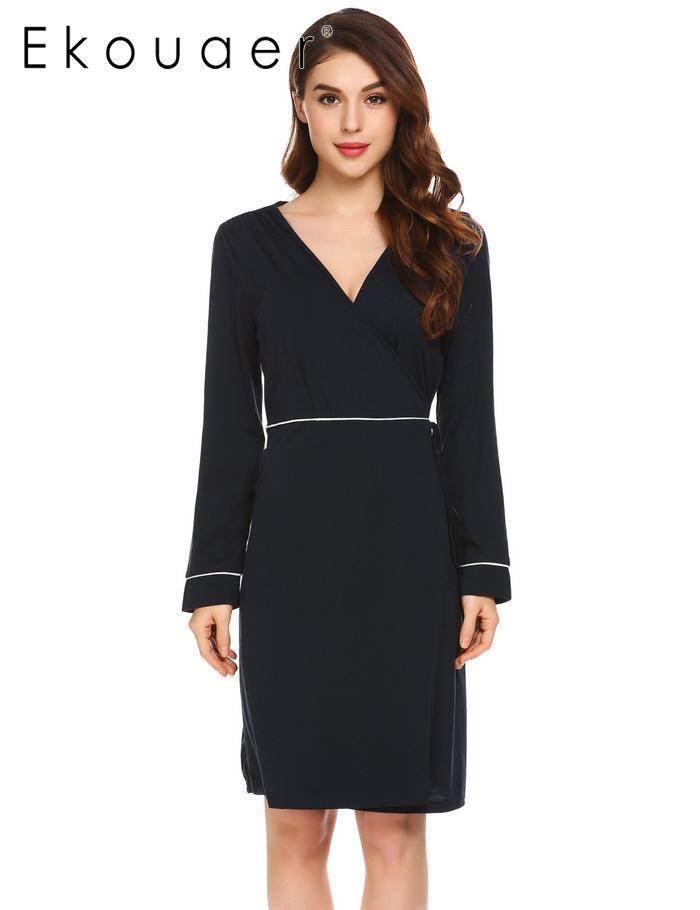 116b2b0f88 2018 Ekouaer V Neck Casual Women Long Sleeve Lace Up Patchwork Sexy  Sleepwear Dress From Beenlo