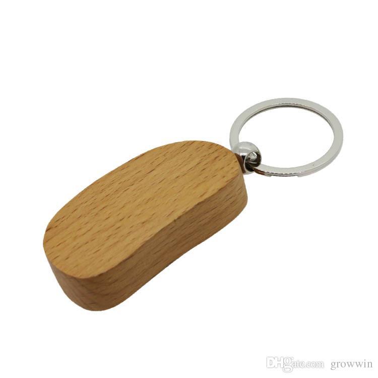 DIY Blank En Bois KeyChain Anneau Porte-clés En Bois Coeur Porte-clés Personnalisé Gravé Nom Porte-clés Meilleur Cadeau D0081-1