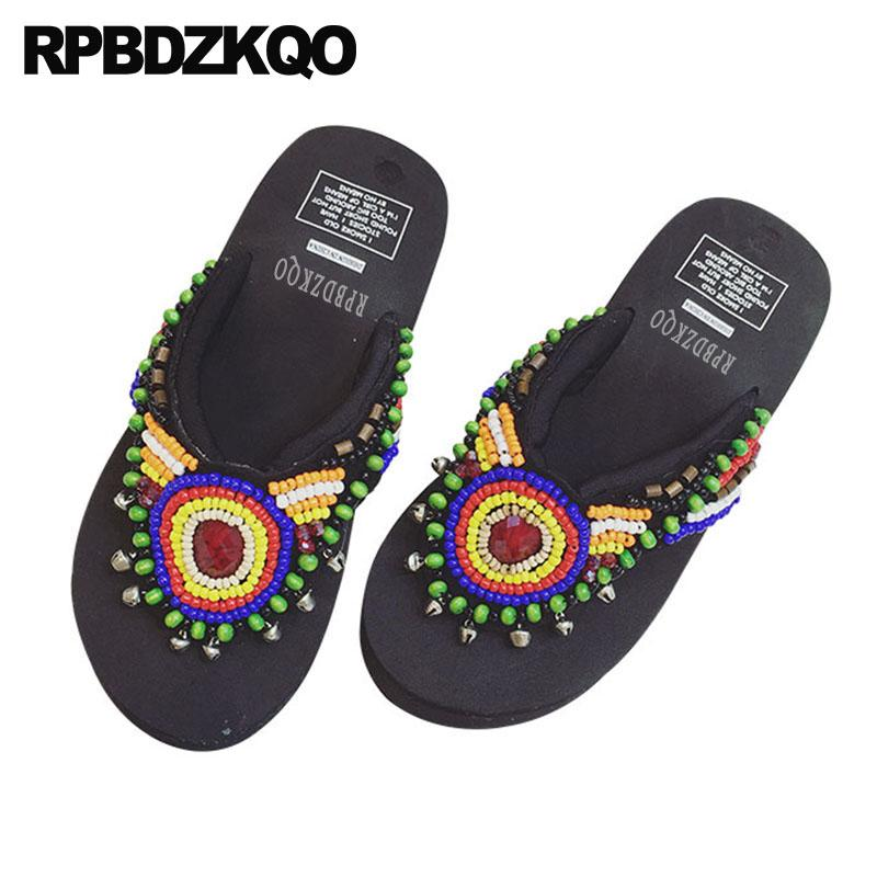 Rhinestone Designer Slides Women 2018 Diamond Flatforms Flip Flop Shoes Wedge Platform Crystal Sandals Beaded Black Slippers
