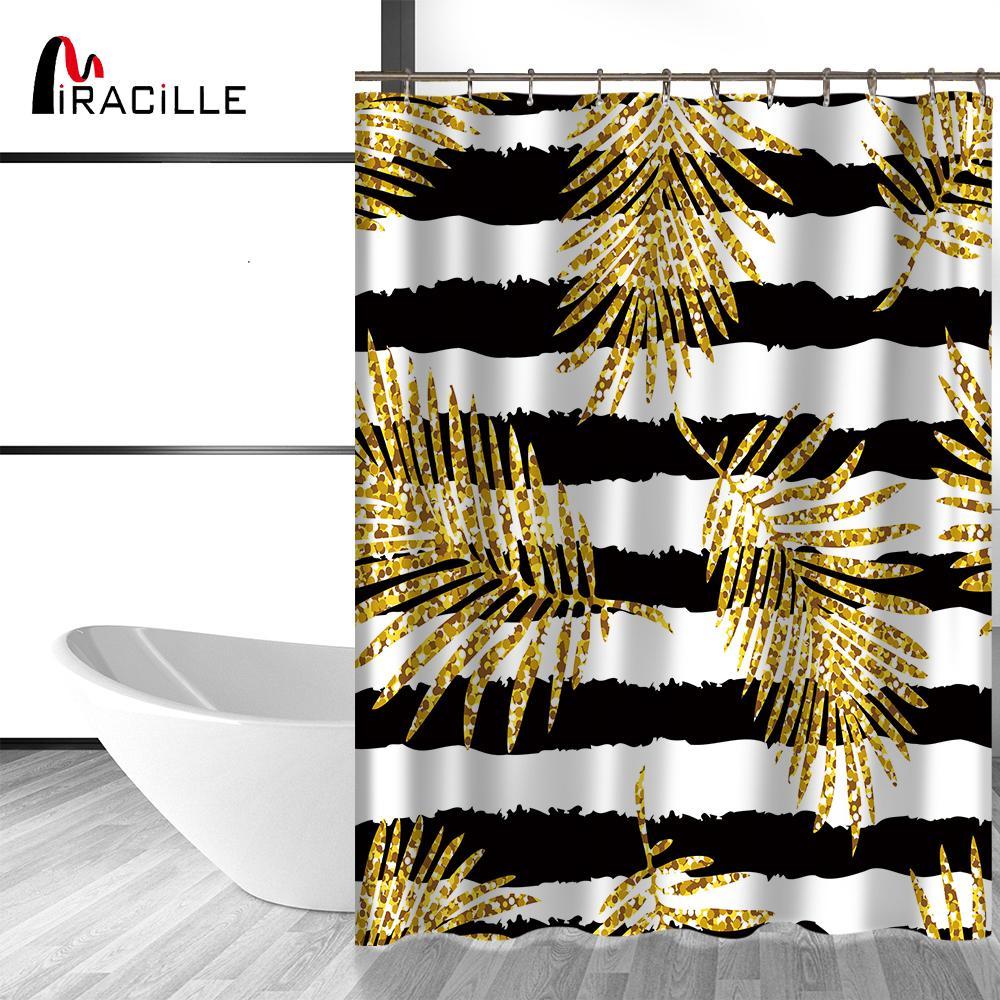 Miracille Modern Glitter Gold Blätter Ananas Druck Duschvorhänge Polyester  Wasserdicht Cat Flamingo Stil Bad Vorhang