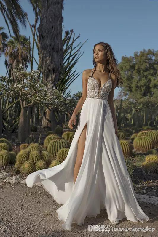 Асаф Дадуш Бохо Свадебные платья Аппликация Блестки с бисером и разрезом Пляжные свадебные платья из шифона с открытой спиной Плюс Размер Свадебное платье